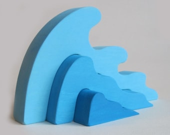 Wooden Wave Stacking Puzzle Waldorf toy