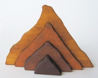 Wooden Moutain Stacker  Waldorf toy nature table