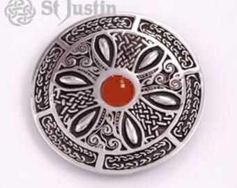 Good St Justin Celtic Wheel Carnelian Gemstone Pewter Brooch   Medieval    Renaissance