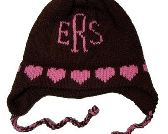 006a5ba157436 Personalized Earflap Hat - Hearts Monogram