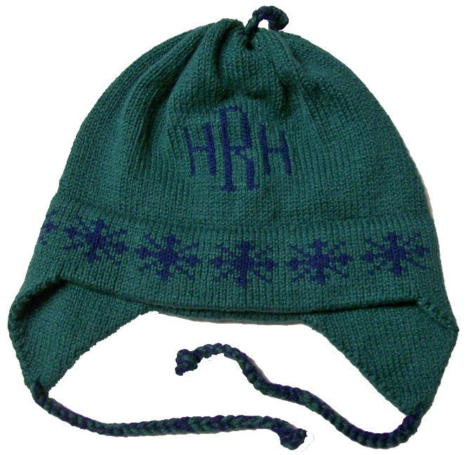 b48ca857a7c Personalized Earflap Hat Snowflakes Monogram