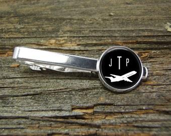 Airplane Aviation Tie Clip-Monogram-Silver or Gold-Weddings-Gift Box-Handmade-Wedding-Keepsake-Groom-Groomsmen-Men-Plane-Pilot-Commercial
