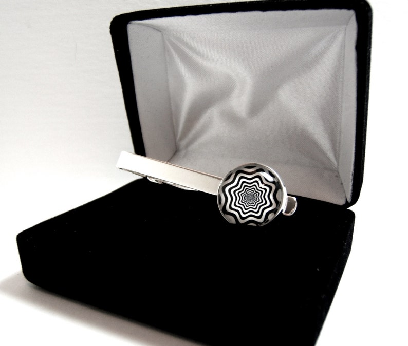 Mandelbrot Set Tie Clip Fractals Orange Ring Silver-Gold-Tie Clip Box-Gift-Wedding-Keepsake-Man Gift-Groom-Groomsmen-Science-Math-Techie