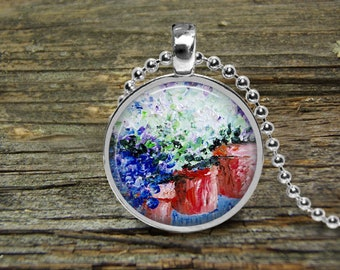 Necklace Hydrangeas-Original Oil Painting-Free Shipping-Silver Pendant-Wedding Gift-Mothers Day Gift-Mother of Bride Gift-Girlfriend Gift