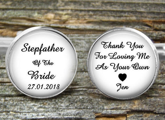 Stepfather Of Bride Cufflinks Wedding Wedding Gift Cufflink Etsy