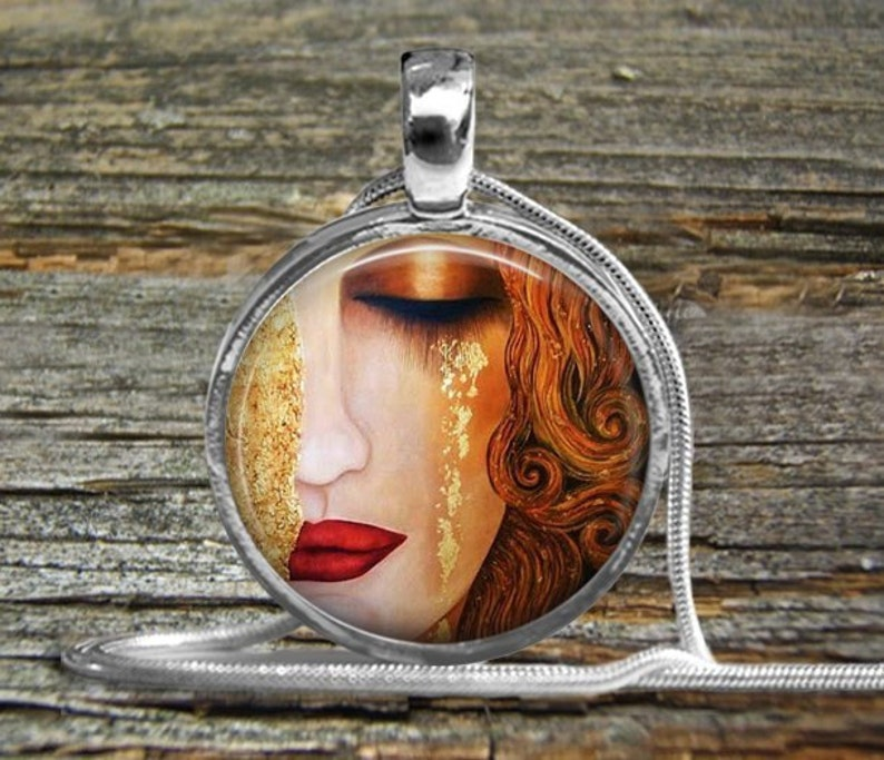 Klimt Woman Crying Tie Clip-NecklaceTie Clip-Tieclip-Klimt Golden Tears-Klimt Painting Jewelry