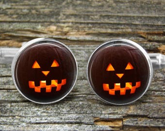 Halloween Pumpkin Cufflinks Black Oange-Wedding--Cufflink Box-Jewelry Box-Free Shipping-Keepsake-Gift-Man gift-Holiday cufflinks