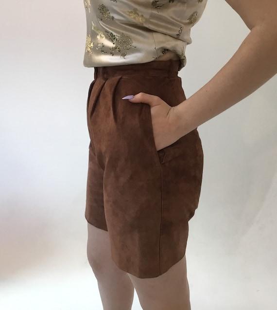 Vintage 1980s David Hollis brown suede high waist… - image 1