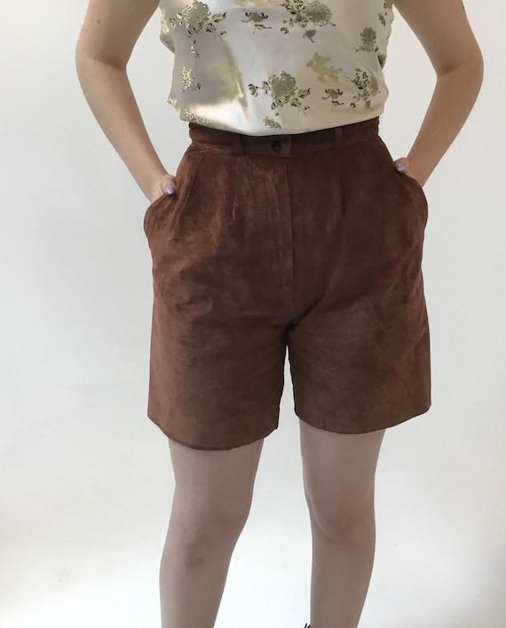 Vintage 1980s David Hollis brown suede high waist… - image 3