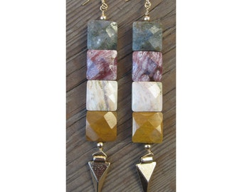 BOHO earrings,Festival,one of a kind, faceted multi colored jasper stone with gold spikes. 14k gold filled ear hooks