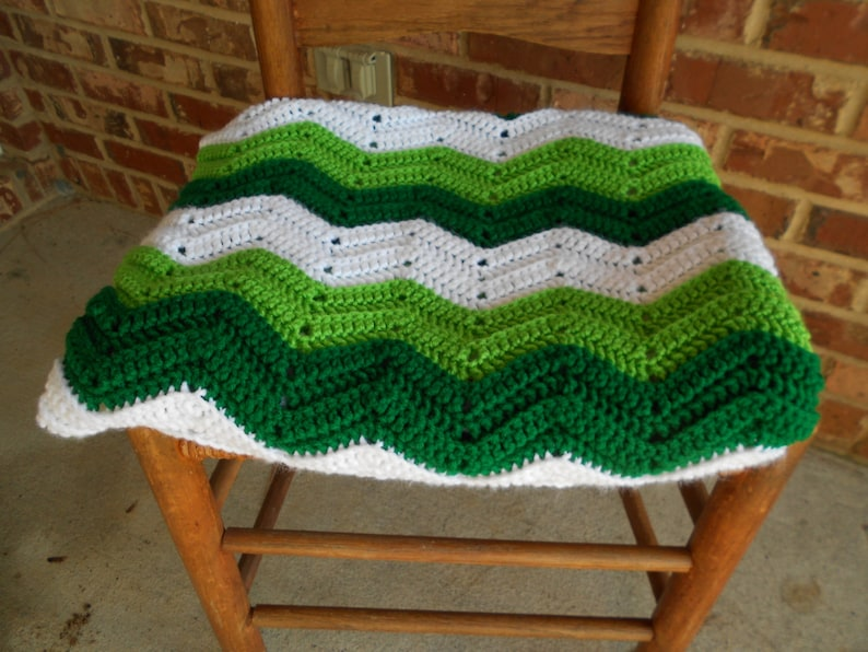 Crochet Afghan Green and White Chevron Afghan St Patrick/'s Day Afghan Crochet Lap Throw,