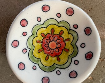 Trivet dish with painted design