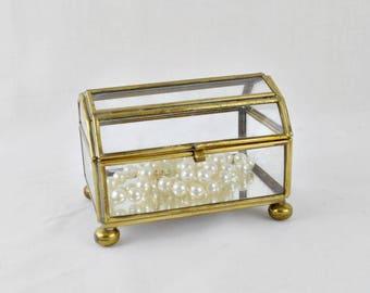 Glass and Brass Dome Top Trinket Box Jewelry Casket Jewelry Box Glass Treasure Chest