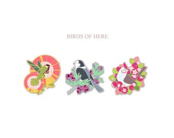 birds of here (enamel pins)