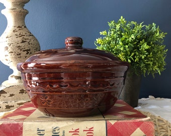 On Sale Marcrest Daisies and Dots Medium Sized Casserole Serving Dish or Mixing Bowl with Lid Collectible Brown Pottery