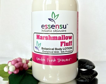 Marshmallow Fluff Natural Silky Botanical Body Lotion with Herbal Extracts , Organic Jojoba Oil | Replenishes Dry Skin | Vegan - 16 oz