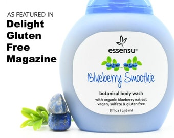 Blueberry Smoothie No Gluten Moisturizing Body Wash | Organic Aloe Vera , Blueberry Extract | Vegan | As Seen In Delight GF Magazine - 8 oz