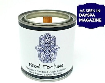 Good Fortune Hamsa Hand Symbol Paint Can Soy Wax Quote Candle | Candles with Quotes | Half Pint | Zen Theme | Seen in DaySpa Magazine - 8 oz