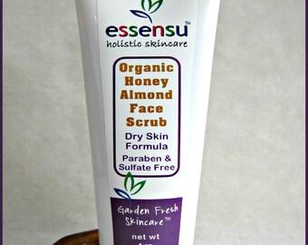 Organic Raw Honey Almond Chia Seed Gentle Exfoliating Moisturizing Face Scrub | Dry , Normal , Sensitive Skin | All Natural No Gluten - 4 oz