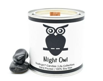 Night Owl Half Pint Paint Can Soy Wax Quote Candle | Candles with Quotes | Candle with Message | Wooden Wick | Best Candle Gift - 8 ounces