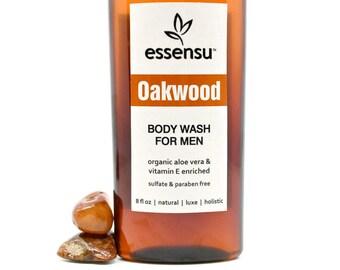 Men's Natural Aloe Vera Vitamin E Herbal Body Wash   Sensitive Skin Formula    No Sulfate Body Wash   In Oakwood or Maverick   Vegan - 8 oz