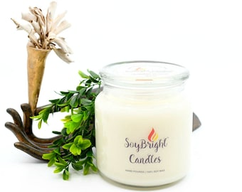 Lilac Blossom Soy Wax Apothecary Jar SoyBright™ Candle with Wooden Wick | Eco-Friendly | Hand Poured | Best House Warming Gift - 16 oz