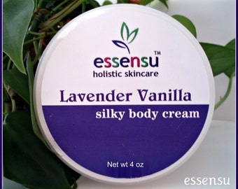 Lavender Vanilla Rejuvenating Natural Silky Rich Body Cream Enriched with Vegan Silk Protein | Renews Dry Skin | Luxury Spa Formula- 4 oz