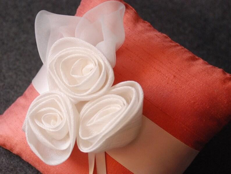 Elizabeth Coral Silk Ring Pillow with Handmade Chiffon Flowers Ring Bearer Pillow