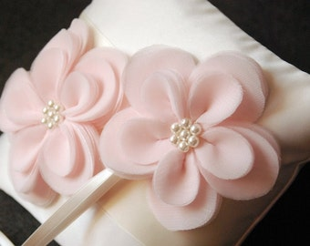 Ring Bearer Pillow - Ivory Satin Ring Pillow with Hand Cut Pink Flowers and Glass Pearls - Gabrielle