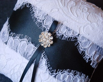 Wedding Ring  Pillow - White Lace Ring Bearer Pillow With Black Panel and Rhinestones - Blair