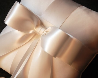 Ring Bearer Pillow - Light Ivory Satin Pillow with Light Ivory Double Faced Ribbon - Audrey