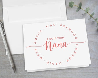 Notes from Nana Folded Stationery Note Cards Personalized Gift for Mom and Grandma