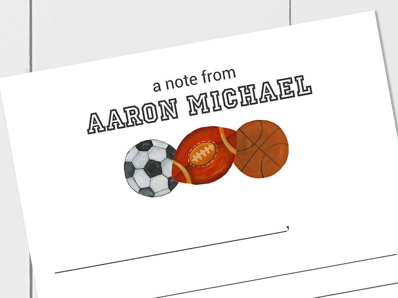Primary Lines Basketball Sports Themed Stationery Football Lined Stationery for Kids Personalized Stationery Soccer