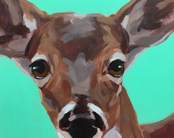 DEER Painting on wood panel