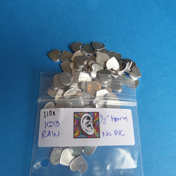 "DEALS - 100 Blanks 1/2"" Hearts RAW 14 Gauge 1100 Pure Food Safe Aluminum Soft Temper"