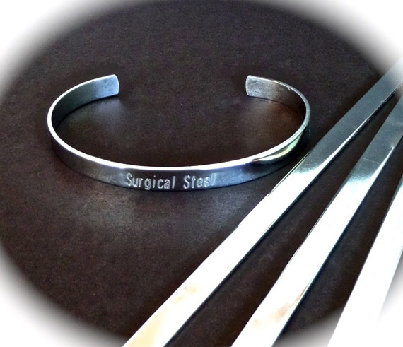 "SLIGHTLY SCRATCHED 10 Surgical Steel Polished 1/4"" x 6"" 18 Gauge Bracelet Blank Cuffs Round Corners - 10 Stainless Steel Cuffs - Flat"
