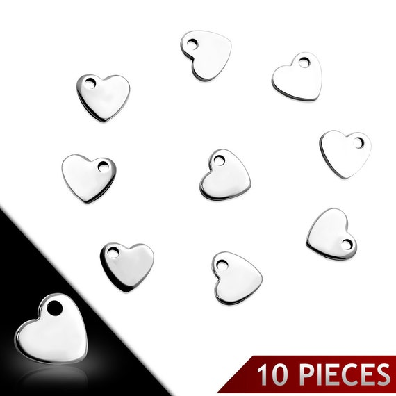 """10 - 2mm Hole Tiny Heart Stainless Steel Dangle Charms Engravable .39"""" x .39"""" or 1 cm x 1 cm 14 Gauge 10 Charms - 10 Charms"""