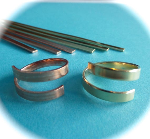 "3 Copper or Jeweler's Brass 1/4"" Wide Wrap Blanks 18 Gauge Metal Stamping Ring Blanks Polished Flat Blanks - Made in USA"