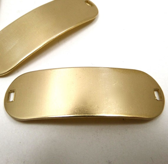 10 Blanks Brass ID Tag 47mm x 15mm Oval 20 Gauge Bracelet Blank Ready to Finish 2 rectangle hole VINTAJ (10 pcs)
