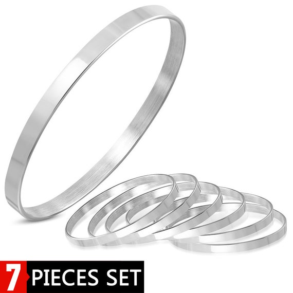 "7 Piece Bangle Set 5mm Wide Stainless Steel Flat Engravable Stackable 1/2"" x 2-7/8"" (12.7mm x 73mm) Surgical Steel 316L"