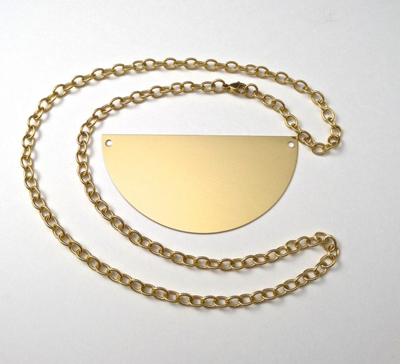 "3"" Brass Half Circle Necklace Kit with Gold Anodized Surgical Steel Chain"