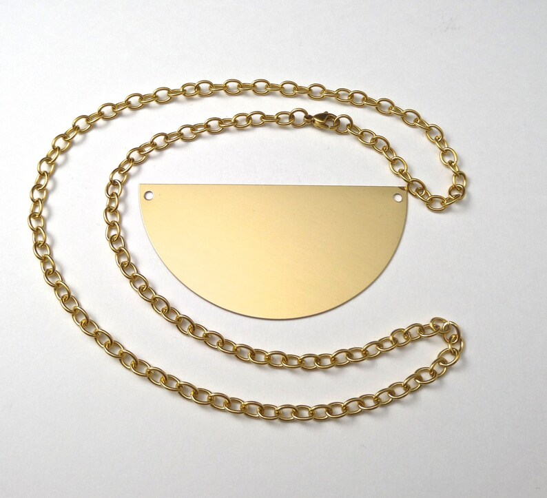3 Brass Half Circle Necklace Kit with Gold Anodized Surgical Steel Chain