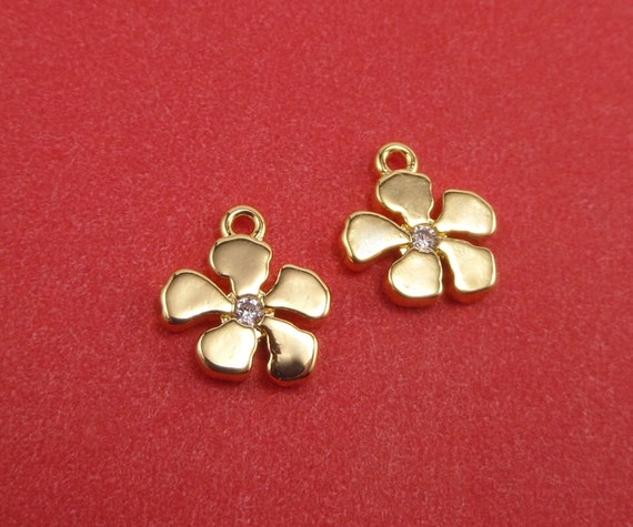 10 Gold Plated Flower Charms with Pave CZs 10.5mm x 5mm x 1.5mm and 1mm Hole - Lead Free