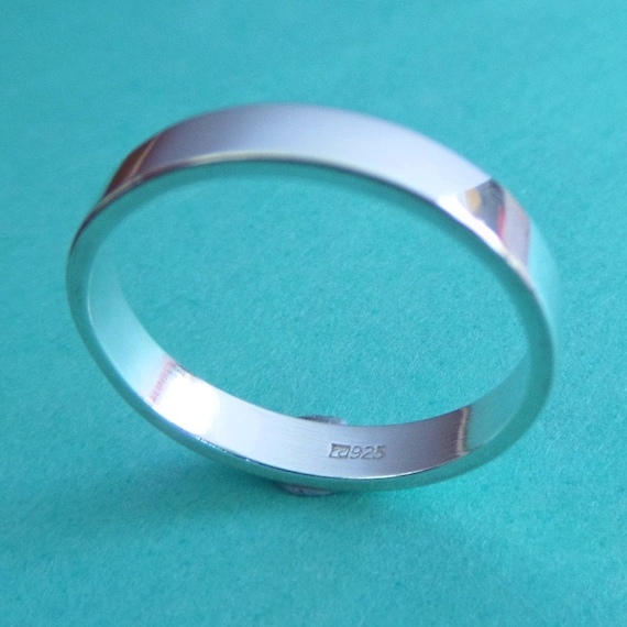 3mm Sterling Ring Flat Band 18 Gauge for Metal Stamping .925 Solid Cast Made in USA Polished US Sizes 5, 6, 7, 8, 9, 10
