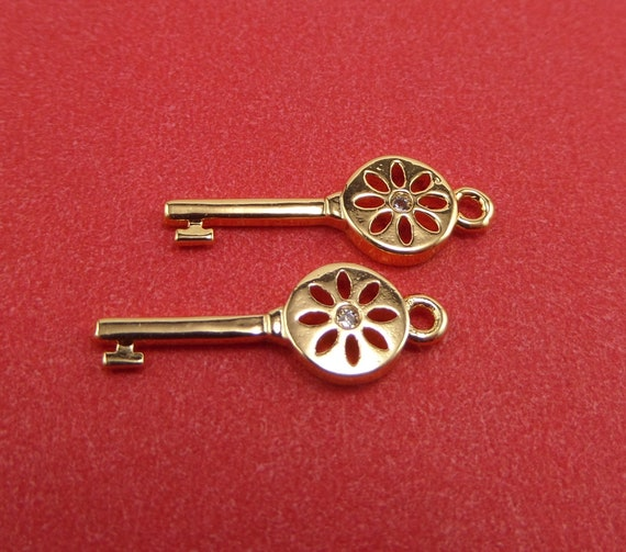 10 Gold Plated Brass Skeleton Key Charms with Pave CZs 18mm x 6mm x 1.5mm and 1mm Hole - Lead Free