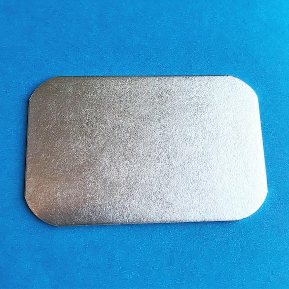 "10 Blanks Matte CREDIT CARD Shape 2"" x 3"" 14 Gauge  Pure 1100 Aluminum Soft Temper Tumbled Smooth Edge"
