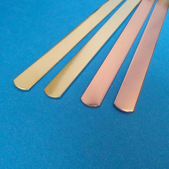 "10 Cuffs 1/4"" x 5"" Inch Copper or Jeweler's Brass 18 Gauge Tumble Polished or RAW Bracelet Blank Cuffs FLAT"