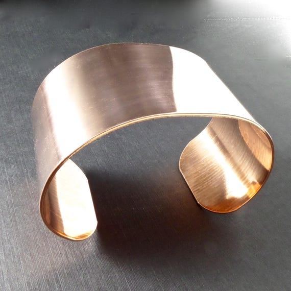 "5 Cuffs 1-1/2"" x 6"" Copper or Jeweler's Brass Bracelet Blank Cuff 18 Gauge RAW Unfinished - Qty 5 - FLAT Blanks"