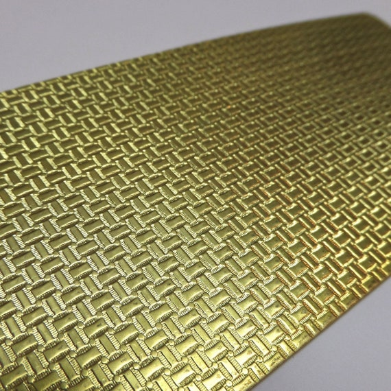 "Basket Weave Rolling Mill Texture Plate Pattern 2.5"" x 6"" Brass Texture Plates 24 Gauge Thick"