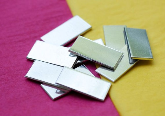 "10 Blanks 3/4"" x 2"" Tumble Polished Rectangles 14 Gauge Heavy Weight 1100 Pure Aluminum - QTY 10"